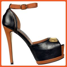 Onlineshoe Women's Two Tone Peep Toe Stiletto Heel Badge Leather Effect Pump UK6 - EU39 - US8 - AU7 - Sandals for women (*Amazon Partner-Link)