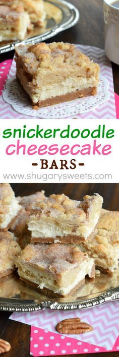Snickerdoodle Cheesecake Bars: delicious sweet and salty crust, creamy cheesecake filling topped with a cinnamon sugar pecan cookie! by DanaFidler Beaux Desserts, Just Desserts, Delicious Desserts, Yummy Treats, Sweet Treats, Baking Recipes, Cookie Recipes, Dessert Recipes, Bar Recipes