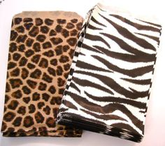 100 of 4″ X 6″ Small Paper Bags 50 Cheetah Leopard & 50 Zebra Animal Print Party Retail Gift Holiday Wrap Wrapping Sacks | Special Days Gift