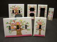 LIGHT SWITCH COVER PLATE OR OUTLET PINK OWLS IN TREE GIRLS ROOM DECOR