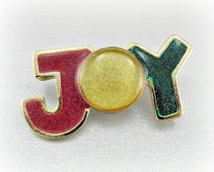 Vintage Christams Brooch Pin, Christmas JOY Brooch, Red Green Gold Brooch, Christmas Enamel Brooch, 1980s Christmas Holiday Jewelry by RedGarnetVintage, $8.00