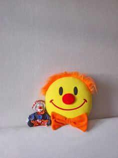 From my blog Rollanda onlineshop pillows: Clown, Clown pillow, Smiley face, smiley face pillow. #clown #smileyface