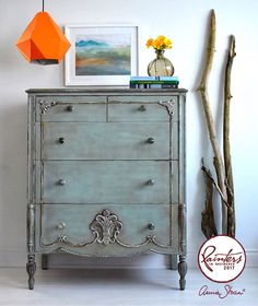 Another triumph from Painter in Residence Ildiko Horvath who painted this chest of drawers in layers of Chalk Paint®, and then created magic with a palette knife, scraping paint off and laying pAint on to create a rustic effect. The main colour is Duck Egg Blue, but look closely and you can spot a little Paris Grey, Arles and Primer Red, too.