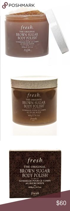 Fresh Brown Sugar Body Polish 14.1 oz BROWN SUGAR BODY POLISH is the original, all-natural sugar exfoliant and the unrivaled treatment for supremely soft skin after just one use.  • Real brown sugar crystals, natural humectants that prevent moisture loss while gently buffing away dry skin cells.  • A superior blend of four precious oils of evening primrose, sweet almond, apricot kernel, and jojoba that nourish the skin and moisturize dry areas.  • Ginseng root extract and peppermint to…