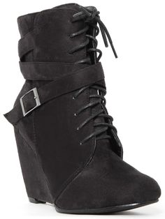 #Suede Lace Up Buckle #Wedges
