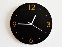Tout simplement noir et jaune cercle horloge murale moderne