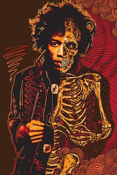 Die Young: a new illustration series by Ben Brown Jimi Hendrix Rock Posters, Band Posters, Concert Posters, Arte Hippy, Pop Art, Tattoo Cover Up, Ben Brown, The Cure, Jimi Hendrix Experience