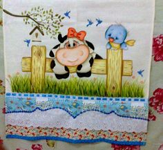 Pintura em tecido por Val Santos - face Disney Drawings Sketches, Drawing Sketches, Precious Moments Coloring Pages, Baby Cows, Funky Design, Down On The Farm, Window Art, Learn To Paint, Fabric Painting