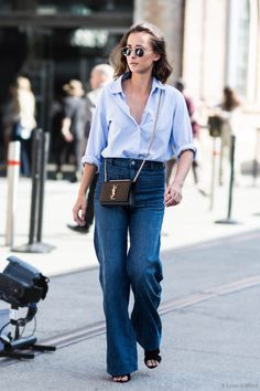 A elegant way to wear denim palazzo jeans