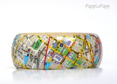Armreif aus Holz, Karte München // wooden bracelet city map munich by PappLePapp via DaWanda.com