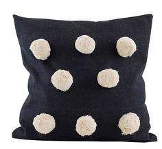 Black Pom Pom Cushion : Big Pom Pom cushion with cream pom poms on a washed cotton fabric. Comes with feather inner.