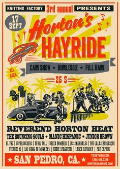 Hortons Hayride festival poster 2016 by Mad Twins. Great bands this year! #reverendhortonheat #rockabilly #psychobilly #hotrod #pinup