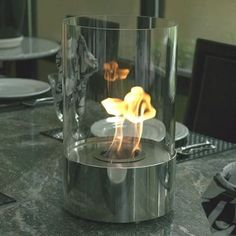 Tabletop Fireplace Goes On Top Of Your Table - OhGizmo! Good.