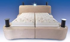 If this bed really stops snoring - then it should be called the MIRACLE bed. Hi-Tech Bed by Leggett & Platt  Not only does it stop snoring by elevating the bed via the vibration-detection feature but also features wireless internet connectivity, an iPod dock, a surround sound speaker system, LCD projector, dual temperature controls and DVR capability.