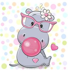 Cartoon Hippo, Cute Cartoon, Environmental Crafts, Baby Animals, Cute Animals, Cute Hippo, Pin On, 5d Diamond Painting, Small Paintings