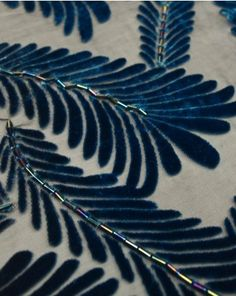 Silk Velvet Devore Fabric   Leaves in Blue   Truro Fabrics 29€ a meter