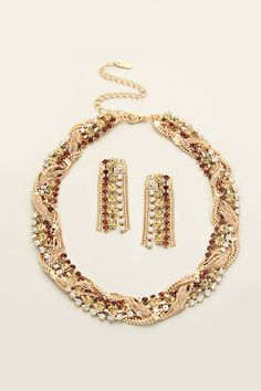 Crystal Braided Esther Necklace on Emma Stine Limited