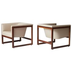 Pair of Floating Cube Chairs by Milo Baughman   See more antique and modern Lounge Chairs at https://www.1stdibs.com/furniture/seating/lounge-chairs
