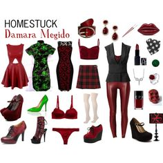 Homestuck Fashion: Damara Megido by khainsaw on Polyvore