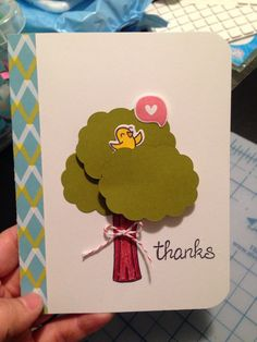 1/5/2014: Thank you card for Peter. | Lawn Fawn: A Birdie Told Me, Daphne's Closet Pattern Paper, Blue Skies, Critters in the Forest & Into the Woods. Design inspired by Ellen Hutson.