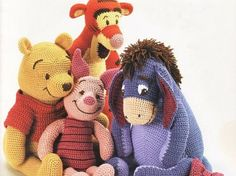 Winnie the Pooh, Piglet, Tigger, Eeyore amigurumicrochet pattern, winnie the pooh! - would love these but can't crochet :(PDF-Winnie The Pooh Tigger Ferkel und i-Ah von camilucidesign (Jouet Pour)We have put together the most beautiful amigurumi knit Chat Crochet, Crochet Amigurumi, Crochet Motifs, Knit Or Crochet, Crochet Blanket Patterns, Amigurumi Patterns, Crochet For Kids, Crochet Crafts, Crochet Dolls