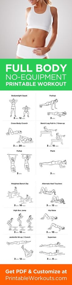Printable Workout to Customize and Print: Ultimate At-Home No Equipment Printable Workout Routine for Men and Women by Podi
