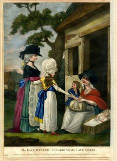 Recto A benevolent wealthy lady with her daughter giving money to a poor woman with her two young children making lace before her cottage door, on the right. 1783 Hand-coloured mezzotint with some etching © The Trustees of the British Museum 18th Century Clothing, 18th Century Fashion, 19th Century, Classic Paintings, Vintage Paintings, 18th Century Costume, Lace Painting, British Museum, Hand Coloring