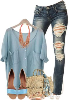 baby blue blouse casual #outfit #moda #clothes #outfits #tendencias #fashion #ropa #mode #vetements #style #streetstyle