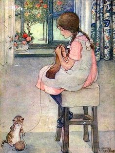 Anne Anderson Illustration. . with a cat