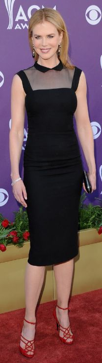 Nicole Kidman wearing L'Wren Scott's dress -- love the cut of this dress, down to the sheer neckline and Peter Pan collar!