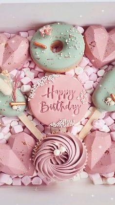 Heart Shaped Chocolate, Chocolate Hearts, Birthday Treats, Happy Birthday, Pink Cafe, Beautiful Cake Designs, Pinata Cake, Dessert Boxes, Sweet Box