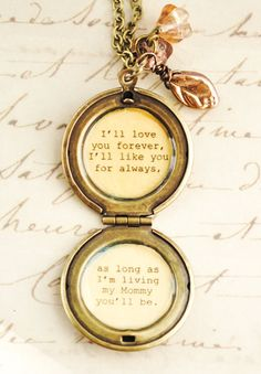 I'll love you forever I'll like you for always - Mother Locket Antique Brass - Women's Lockets - Quote Lockets - Mom and Me on Etsy, $32.00
