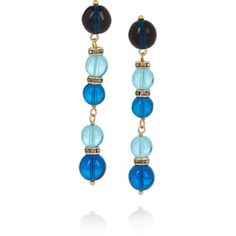 Etro Gold-plated, bead and Swarovski crystal earrings featuring polyvore, women's fashion, jewelry, earrings, blue, gold plated jewelry, bohemian jewelry, swarovski crystal jewelry, druzy earrings and swarovski crystal earrings