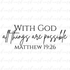 With God All Things Are Possible svg Matthew 19 26 svg Bible | Etsy