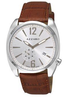 Azzaro AZ1300.14SH.003 Watches,Men's Seventies Silver Small Second Dial Brown Leather, Casual Azzaro Quartz Watches