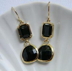 Bohemian Gold Black Earrings  Bridesmaid Earrings  by DanaCastle, $30.00