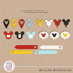 Project Mouse FREEBIE!!    Digital Disney Project Life arrows, labels, and pointers with a Mickey twist for FREE from Britt-ish Designs.