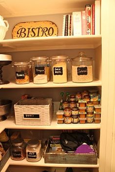 chalkboard labels from Braden's Grace on Etsy. They are great. They come 12 in a pack for only $8. Plaster them on everything.    Chalkboard pen! At Michaels.    Use baskets for loose items snack, seasoning packets folder, onions & potatoes, bags of bread, etc... love it organized pantry!