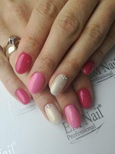 rose, pink, cyrkonie, nails, paznokcie