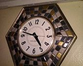 Retro mosaic kitchen wall clock by general electric 1960s clock. earthtones.