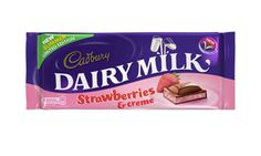 Strawberries & creme Dairy Milk bar - love the chocolate, but hate the spelling of 'creme'. Mini Rolls, Cadbury Dairy Milk, Cadbury Chocolate, Strawberry Milk, Strawberries, Cool Things To Buy, Food And Drink, Drinks, Spelling