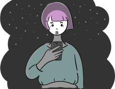 夜に歩きスマホをする女の子:フリーイラスト素材 イラストナビ