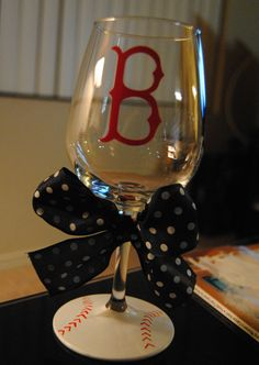 Boston Red Sox glass for all my mlb fans out there!     http://www.etsy.com/listing/95533815/boston-red-sox-wine-glass