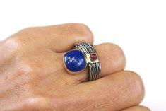 Lapis Lazuli & Ruby 925 Silver and 18k Gold Women Ring   Etsy Gold And Silver Rings, 925 Silver, Square Rings, Blue Gemstones, Bracelet Sizes, Unique Rings, Statement Jewelry, Lapis Lazuli, Fashion Rings