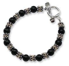 Sterling Silver Black Onyx Bead Toggle Bracelet