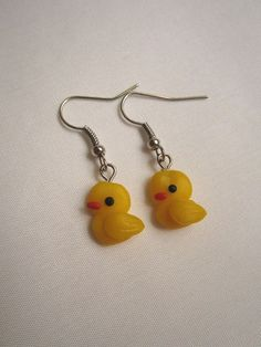 Earrings orecchini papere duck cernit fimo handmade polymer clay