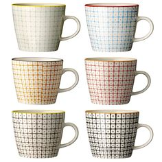 We love these Carla mugs from Bloomingville, with typical stylish Scandinavian design these mugs are made from high quality stoneware and each colour To Go Becher, Ceramic Boxes, Stoneware Mugs, Modern Retro, Cupping Set, Eclectic Style, Tile Patterns, Retro Design, Paint Designs