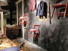 Love the peg board as the back wall display...cool display idea for your store