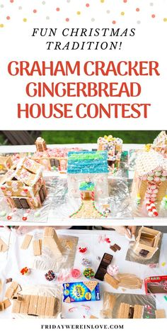 Christmas Traditions - Graham cracker gingerbread house contest ideas: This fun holiday tradition is easy to put together and creates a fun party you're friends and family will love! Fun Activities For Kids, Christmas Activities, Family Activities, Christmas Fun, Holiday Fun, Holiday Baking, Graham Cracker Gingerbread House, Gingerbread House Parties, Housewarming Party
