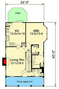 Country Appeal for a Small Lot - floor plan - Main Level Starter Home Plans, Architecture Plan, Bay Window, Log Homes, Second Floor, Future House, Farmhouse Style, Tiny House, House Plans